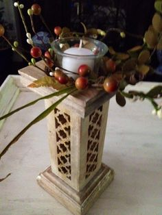 Fall Decor Autumn Candlestick Carved wooden by BlessMyNestShop