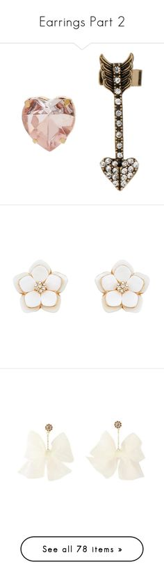 """""""Earrings Part 2"""" by girlwithherheadintheclouds ❤ liked on Polyvore featuring jewelry, earrings, accessories, pink, necklaces, pink earrings, betsey johnson earrings, beaded earrings, heart stud earrings and heart ear cuff"""