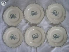 6 anciennes assiettes plates TRIANON SALINS