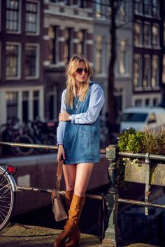 Rebecca Laurey by @RebeccaLaurey PINAFORE DENIM DRESS: http://bit.ly/298AulU BIEGE LEATHER BAG: http://bit.ly/298BeHP ROUND FRAME SUNGLASSES: http://bit.ly/297NWtS