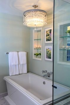 Waterfall Crystal Chandelier By Et2 Frameless Shower And Stand Alone Tub Bathroom Love Pinterest Frameless Shower Tubs And Chandeliers