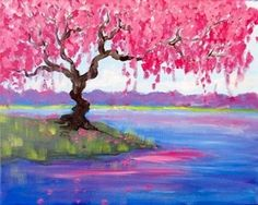 Beautiful pink flowering tree on the edge of a lake. Such pretty colors. Beginner canvas painting idea. Wine and Canvas