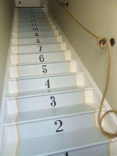 repeindre des escaliers en bois avec des pochoirs chiffres