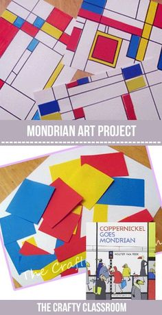 Piet Mondrian was known for white canvas with horizontal and vertical lines, and rectangular shapes filled with primary colors. Piet Mondrian, Mondrian Kunst, Art Lessons For Kids, Art Lessons Elementary, Kindergarten Art, Preschool Art, Mondrian Art Projects, 4th Grade Art, Ecole Art