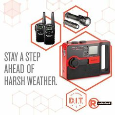 Stay a step ahead of the weather. #RadioShack has a variety of emergency walkie-talkies, weather alert and hand-crank radios & portable TVs to help keep you safe & informed during severe weather.