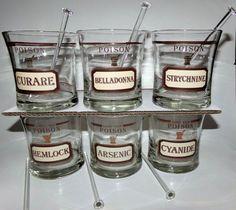 Name Your Poison 16 oz Cera Glasses Old Fashioned Rocks Neiman Marcus Set of 6 Vintage Glassware, Rock Style, The Rock, Neiman Marcus, Mason Jars, Glasses, Tableware, Barware, Rocks
