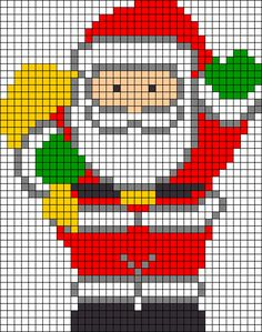 Risultati immagini per pixel art template christmas Santa Cross Stitch, Cross Stitch Charts, Cross Stitch Designs, Cross Stitch Patterns, Hama Beads Patterns, Beading Patterns, Embroidery Patterns, Loom Patterns, Bracelet Patterns
