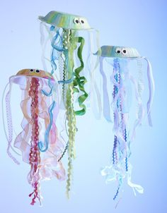 Jellyfish from paper bowls and ribbon. Just add paint to match. Fun, cheap and easy!