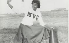 Portrait of a Mississippi Vocational College cheerleader, 1950s. Gift of Charles Schwartz and Shawn Wilson