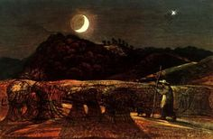 Samuel Palmer, Harvest Moon, 1830s.  Samuel Palmer was a British landscape painter, etcher and printmaker. He was also a prolific writer. Palmer was a key figure in Romanticism in Britain and produced visionary pastoral paintings.