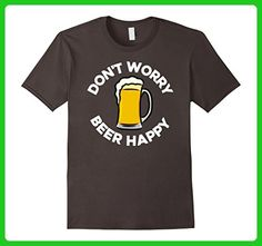 Mens Don't Worry Beer Happy I Love Drinking Beer Happy Hour Shots Small Asphalt - Food and drink shirts (*Amazon Partner-Link)
