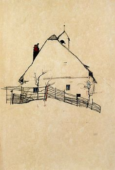 Egon Schiele - it's amazing, isn't it, that Schiele can make a simple house-garden-fence sketch as intense and febrile as the human figure...