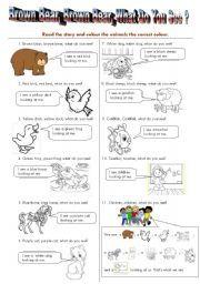 English worksheet: Brown Bear Read/Colour