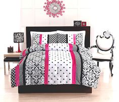 Elegant Teen Girl Black White & Hot Pink Bedding Twin / Full Comforter Set Damask Scroll & Polka Dot