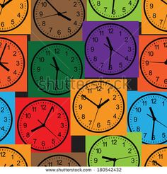 Seamless pattern composed of images hours. Vector illustration. by katykin, via Shutterstock