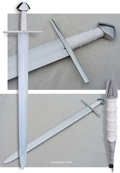 """""""A late version of X-type sword, manufactured according to specifications given by the customer. The blade is forged from carbon steel, cross and pommel are from iron. The grip piece is carved from Elforyn bone imitation."""" kp-art.fi"""