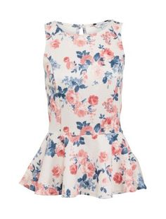 White Textured Floral Peplum Top  Product Code:276655019  £14.99