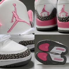 Women Air Jordan 3 Retro White Pink Cement Grey ($71) ❤ liked on Polyvore featuring shoes, jordans, pink white shoes, grey shoes, pink shoes, retro shoes and air sole shoes
