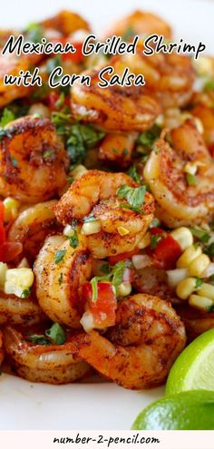 This Mexican Grilled Shrimp with Corn Salsa is one of my new favorite dinners! These flavorful little shrimp are absolutely delicious on their own with a side of mexican rice and refried beans piled on a warm tortilla as a taco or on a bed of lettuce fo Authentic Mexican Recipes, Mexican Shrimp Recipes, Fish Recipes, Seafood Recipes, Shrimp Salad Recipes, Tortilla Recipes, Shrimp Dinner Recipes, Recipies, Grilling Recipes