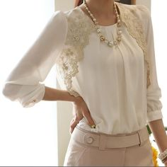 Chiffon shirt with lace New never worn still in the packaging! XO Tops Blouses