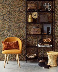 Terra wallpaper from Eijffinger - Wallpaper Torama How To Hang Wallpaper, Print Wallpaper, Leaves Wallpaper, Wallpaper Ideas, Pip Studio, Room Dimensions, Interior Inspiration, Ikat, Dining Chairs