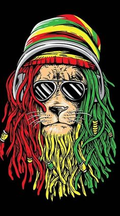 Wallpaper Kawaii, Lion Wallpaper, Pop Art Wallpaper, Bob Marley Lion, Bob Marley Art, Rasta Art, Rasta Lion, Bob Marley Painting, Reggae Art