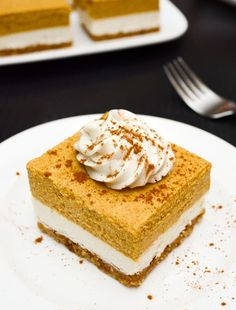 Vegan Pumpkin Cheesecake Bars are an easy, no-bake Fall recipe! The walnut crust pairs perfectly with the classic cheesecake and spiced pumpkin layers. gf