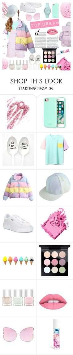 """""""Ice Cream Inspired Look"""" by gpatricia ❤ liked on Polyvore featuring Obsessive Compulsive Cosmetics, Laut, Milk + Honey, Puma, Bobbi Brown Cosmetics, Nails Inc., L.A. Girl, Matthew Williamson and Blossom"""