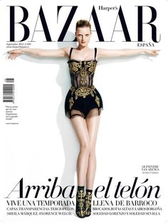 dg September cover of Harper's Bazaar SpaGuinevere van Seenus wearing an embroidered bodysuit from Dolce & Gabbana's fall collection
