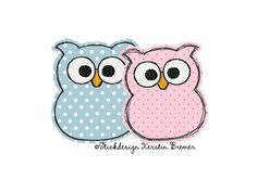 Eulen Paar doodle Stickdatei. Doodle owl couple appliqué embroidery for embroidery machines.  #sticken #eulenliebe #embroiderydesign #familie