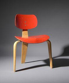Egon Eiermann; Painted Molded Plywood Chair for Wilde + Spieth, 1950.