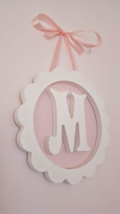for baby Wood Letters, Monogram Letters, Baby Crafts, Diy And Crafts, Wood Monogram, Little Girl Rooms, Wooden Crafts, Baby Room Decor, Projects To Try