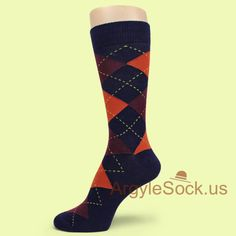 USH747: DARK ORANGE BROWN(OR VERY DARK MAROON) NAVY/MIDNIGHT ARGYLE SOCK