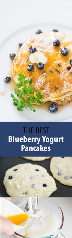 These easy delicious Blueberry Pancakes are loaded with fresh wild blueberries use plain yogurt to make the pancakes super fluffy and flavorful.