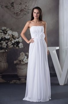 White Elegant Hall Strapless Sleeveless Zipper Floor Length Flower Bridal Gowns