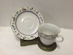 Baum-Bros-Francais-Cup-Saucer-Basket-Weave-Blue-Gold-Rope-Flowers-Many-Avail