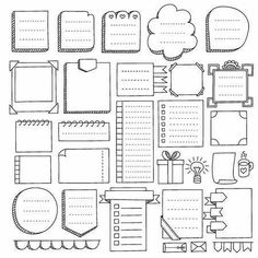 vector elements for notebook, diary and pl - Brenda O. magazine hand drawn vector elements for notebook, diary and pl - Brenda O. Set of bullet journal doodle elements Royalty Free Vector Colegio Hand drawn visual thinking elements vector set Bullet Journal School, Bullet Journal Frames, Bullet Journal Paper, Bullet Journal Headers, Bullet Journal Lettering Ideas, Bullet Journal Notebook, Bullet Journal Inspiration, Book Journal, Planner Journal