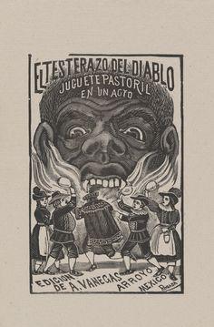 "José Guadalupe Posada, ""Testing the Devil"", woodcut print, 7 3/8"" x 5 1/2"", ca. 1890-1910."