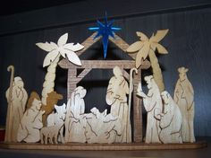 wooden Nativity from recycled wood