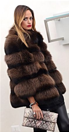 Brown Dyed Fox Fur Jacket