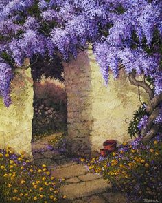Buy artworks from Frances Keevil Gallery Sydney featuring © Stephen Trebilcock Through the Wisteria oil on canvas