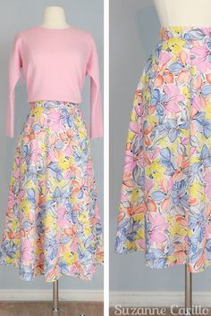 Fresh picks Friday vintage clothes for sale. Vintage floral patterned pastel midi skirt for sale size small