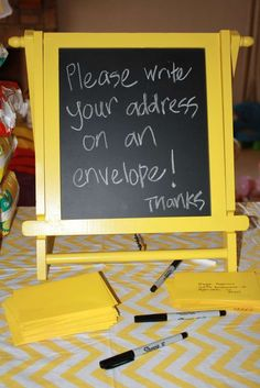 What a great time saving idea for Mommy...we address our own thank you note envelopes... Yellow & Grey Baby Shower Party Ideas | Photo 27 of 32 | Catch My Party