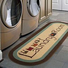 Ottomanson Washtown Non-Slip Low-Pile Laundry Mat Runner Rug x 59 oval Brown) Carpet Runner, Rug Runner, Laundy Room, Laundry Room Rugs, Basement Laundry, Floor Runners, Decoration Bedroom, Vintage Laundry, Rugs
