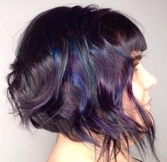 Oil slick highlights on brown hair google search express the oil slick hair trend can turn your strands into an iridescent rainbow of blues purples and greens check out our fave styles and tips to get the look solutioingenieria Images