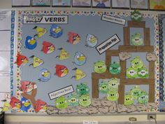 """Angry"" Verbs, Preposition Pigs, Adjectives Rock!, and Wooden Nouns... LOVE this!"