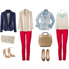 Red, Chambray Denim, Silver, Beige / Nude, White, Leopard Outfit polyvore-sets