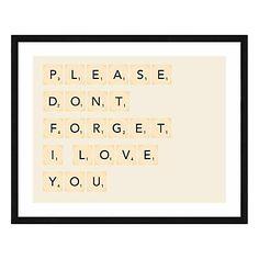 Affiche imprimée encadrée Please Don't Forget, écru et noir, 70x50x1,5 cm