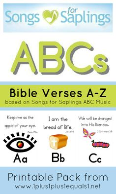 Songs for Saplings ABC Bible Verses printable pack (plus link to Weekly Bible Story printables)