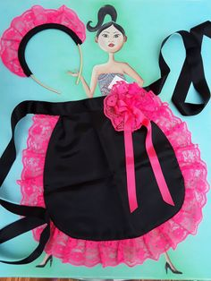 Be beautiful in maid, apron with headband, black satin and lace ruffle fluo pink, lace bow and black ribbon - Dentelle tissus Lace Bows, Lace Ruffle, Pink Lace, Black Ribbon, Black Satin, Sewing Aprons, Crochet Scarves, Crochet Lace, Sewing Hacks